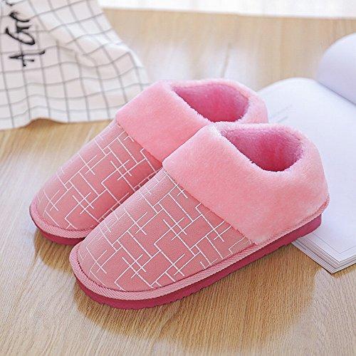 Winter Hausschuhe Warm und Samt Dicken Boden mit Männern und Frauen im In-Und Ausland Schuhe aus Baumwolle Hausschuhe,C,39-40