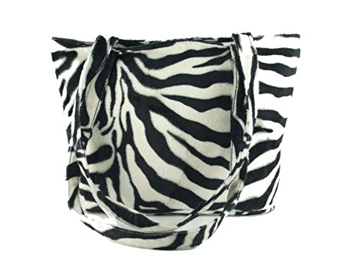 (Loni Womens Smart Animal Print Faux Fur Tote/Shoulder Bag in zebra)