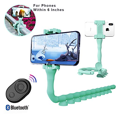 Bendable Flexible Selfie Stick, 2019 New Smartphones Monopod Stand Tripod Mount Suction Cup Stand with Bluetooth Remote Shutter for iPhone and Samsung Mobile Phones (Green)