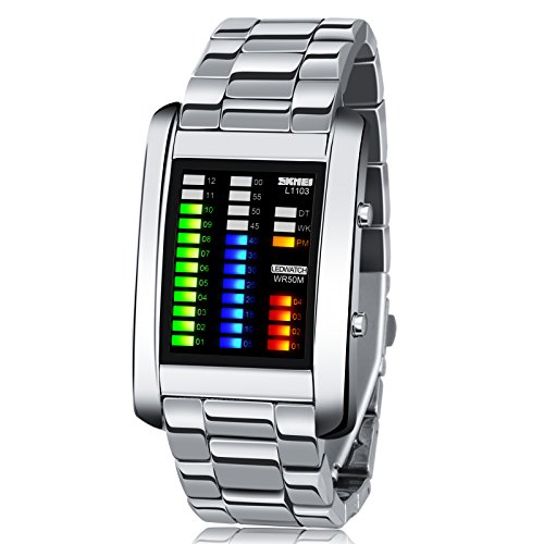 Men's Digital Watch Binary Time LED Display Waterproof Alloy Band Stopwatch Creative Sport Army - Watches Binary For Men