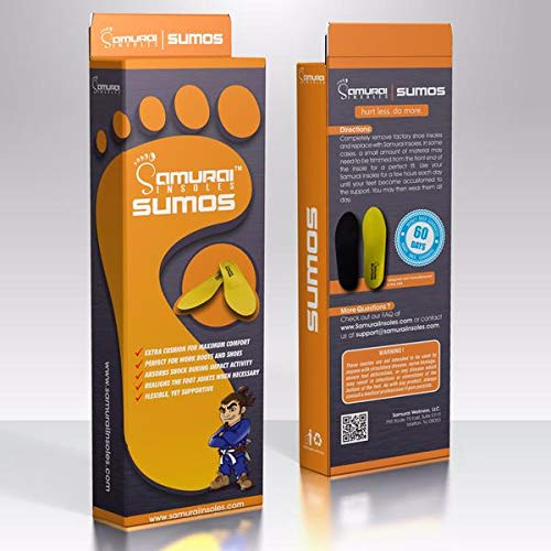 3c2638b2af Samurai Insoles Sumos- Super-Padded Orthotics for Flat Feet- Perfect for  Work Boots