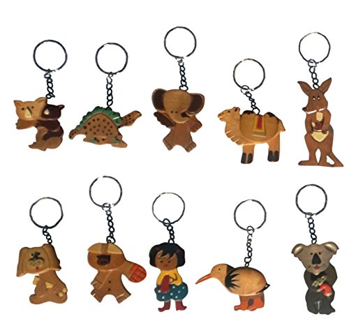 Best 10 Pack New Novelty Wooden Moving Keychain Puppet Bulk Wholesale Inexpensive Unique Christmas Stocking Stuffer Top Filler Gift Idea Under $5 Dollars Party Favor Teacher Kid Children Parent (Wholesale Teacher Gifts)