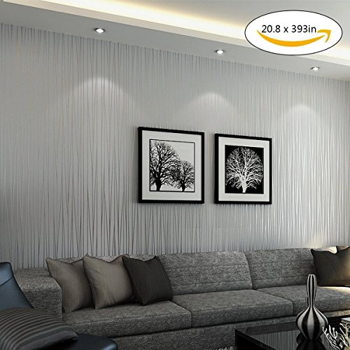 Vopie Non-Woven 3D Modern Stripe Fashion Wallpaper for Livingroom, Bedroom, Kitchen and Bathroom 20.8In x 32.8Ft (Silver grey)