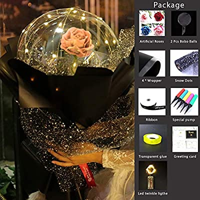 toyuugo Transparent Balloon Rose Bouquet LED Luminous Bobo Ball Wedding Birthday