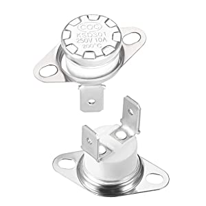 uxcell KSD301 Thermostat 200°C 10A Normally Closed N.C Adjust Snap Disc Limit Control Switch Microwave Thermostat Thermal Switch 2pcs
