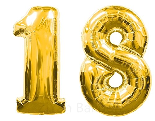 Ball 18' Mylar Balloon (ZiYan 40 Inch Giant 18th Gold Number Balloons,Birthday / Party balloons.)