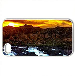 MOUNTAIN FALLS - Case Cover for iPhone 4 and 4s (Waterfalls Series, Watercolor style, White)