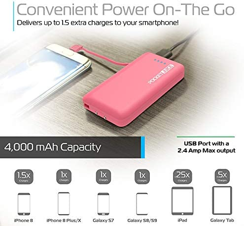 Tzumi PocketJuice Endurance AC - Mini Portable Device Battery Pack Charger - 4,000 mAh High-Speed USB Port with Built in MicroUSB Cable - Compatible ...