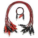 Senmod 10PCS 5.5 x2.1mm DC Power Plug Male Connector to Dual Alligator Clip Cable