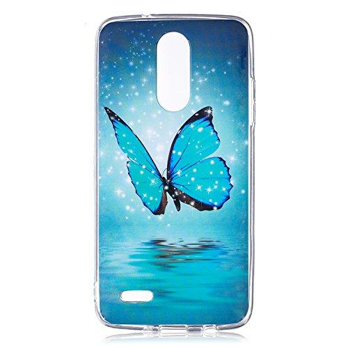 Funda LG K4 2017, CaseLover Noctilucent Luminous TPU Silicona Carcasa para LG K4 2017 (5.0 pulgadas) Ultra Delgado Suave Fluorescente Efecto Verde Brillo Nocturno En la Oscuridad Protectora Caso Flexi Mariposa azul