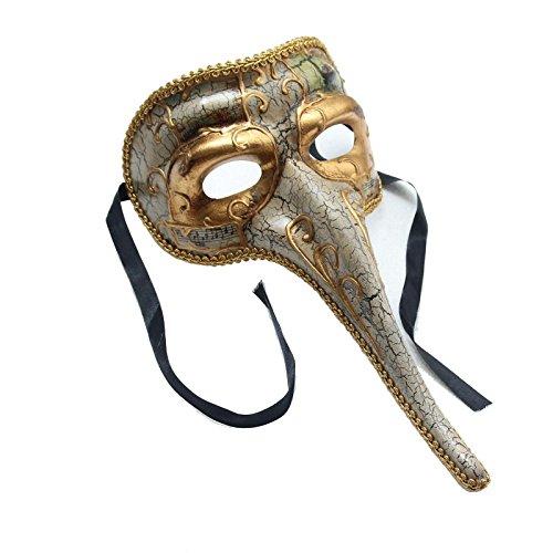 Resin Venetian Masquerade Mask Mens Long Nose Beak Music Note Mardi Gras Carnival (White) (Mask Carnival Italian)