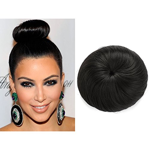 Donut Chignon Hair Bun Extension Clip in Black Ballerina Synthetic Hairpieces Updo Hair Piece For Women Gril Lady Q3&2 ()