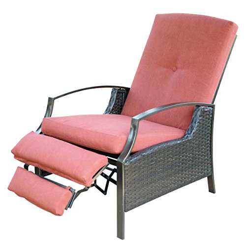 SunLife Recliner Chair, Adjustable Patio Bistro Garden Party Bars Cafe Indoor Outdoor Wicker Relaxing Lounge with Thick Cushion by SunLife