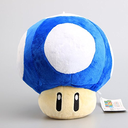 Super Mario Bros Mushroom 9 Inch Toddler Stuffed Plush Kids Toys Blue (Stuffed Mushroom)