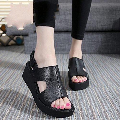 Xing Lin Sandalias De Mujer Verano Sandalias De Cuero Con Tacones Altos Y Punta Abierta De Fondo Plano Casual Cómoda Sandalias De Gran Tamaño black
