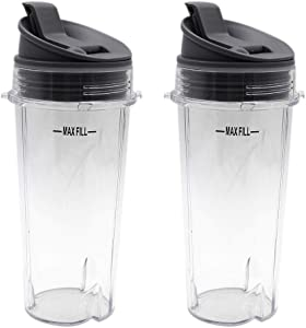 Anbige Replacement Parts for Ninja Blender, 16oz Cup with Lid Fit for Ninja Series BL770 BL660 BL810 QB3000 All Pro 4 Tab Blenders (2 cups + 2 sip&seal lids)