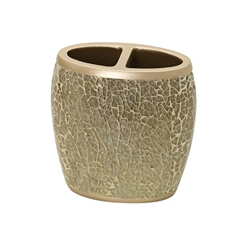 Cracked Brush Glass - Zenna Home, India Ink Huntington Toothbrush Holder, Gold Cracked Glass