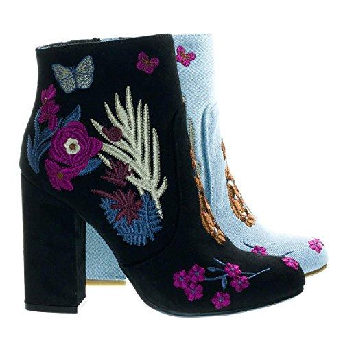 Namaste11 Black Embossed   Embroidery Block Heel Ankle Bootie W Faux Fur Lining  8 5