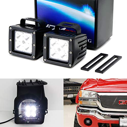 iJDMTOY LED Pod Light Fog Lamp Kit For 2003-06 GMC Sierra 1500, Includes (2) 20W High Power CREE LED Cubes, Foglight Location Mounting Brackets & Wiring/Adapter Harnesses (05 Rh Fog Light Lamp)