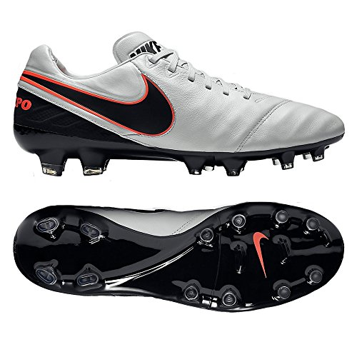 Nike Tiempo Legacy Ii Fg Platine Pure / Noir-hyper Orng Platine Pur / Chaussures Noires - 10