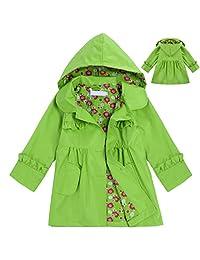 Girls' Raincoat, Cute Long Sleeve Flower Waterproof Hooded Jacket Outerwear