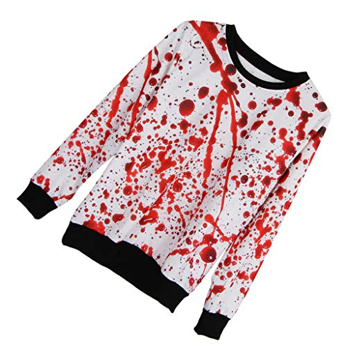 Prettyia Scary Halloween Blood Splatter 3D Graphic Printed Sweatsuit Pullover Tops Blouse - As Picture Shows, M]()