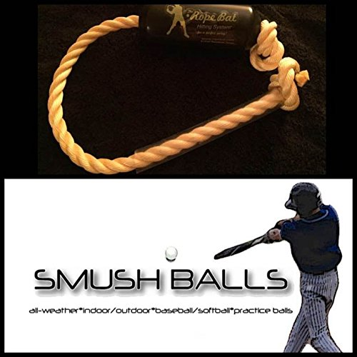 The Rope Bat Hitting System with a Dozen Smushballs- Finally Get the Perfect Swing (High School-Adult - To Priority Ship How Mail Long