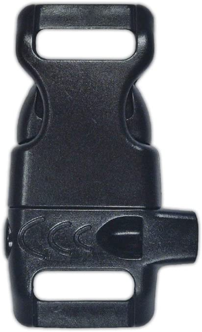 PARACORD PLANET Plastic Side-Release Emergency Whistle Buckle - 1/2 Inch - Black