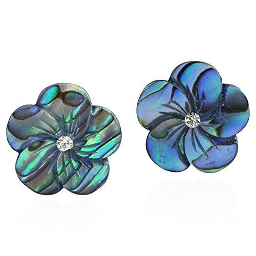 Carved Shell Earrings (Peacock Abalone Plumeria Flower Carved .925 Sterling Silver Post Earrings)