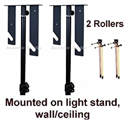 Ardinbir Studio 2x Chain Manual Drive Photography Background Backdrop Support System with Hooks, Rollers and Chains - Light Stand, Wall or Ceiling Mounted
