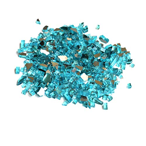 Charming Glass Bead - Skyflame High Luster 10-Pound Fire Glass for Fire Pit Fireplace Landscaping, 1/4-Inch Caribbean Blue Reflective