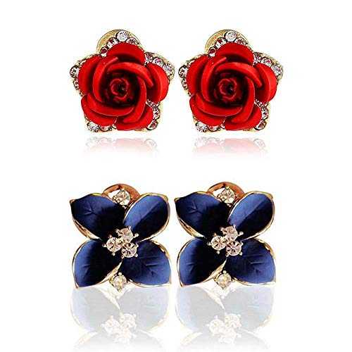 (KYCraft 2 Pair Flower Earring Fashion Women Ladies Ear Stud Earring Rose Camellia Flower Stud Earrings for Women and Girls Set for Sansitive Ears Simple Chic Jewelry (Red Rose & Camellia))