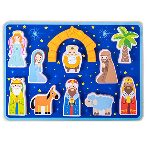 Piece on Earth Nativity Puzzle Board | Children's 11 pc. Chunky Wooden Inset Shapes | First Christmas, New Testament Christian Bible Story Toy for Advent, Religious Holidays, and ()