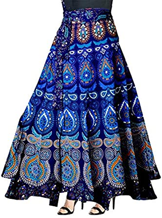 Modern Kart Women's Cotton Jaipuri Print Wrap-Around Skirt (INDI_04, Multicolour, Free Size)