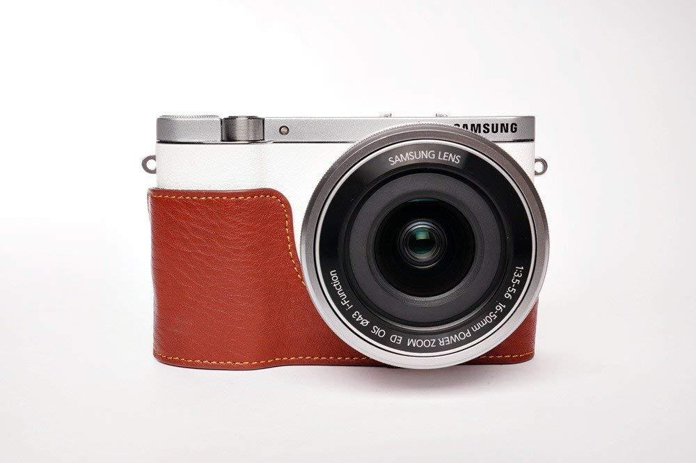 サムスン NX3000用本革カメラケース (電池,SDカード交換可) ブラウン B07SVXQFZ6 カメラケース&ストラップTP15&バッテリーケース FreeSize