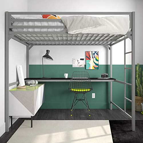 - DHP Miles Metal Loft Bed with Desk, Silver, Full