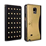 DesignSkin GN4WBST4304 Galaxy Note 4 Case, Wetherby Stud Genuine Cowhide Premium Leather Handcrafted Unique Luxurious Design ID/Credit Card Storage Holder Banknote Slot Wallet Case - Black