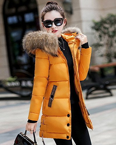 Caldo Inverno Lungo Imbottito Piumino Donna Con Da Cappuccio Giallo Rosso Slim Outwear Parka M FxqqH80wS