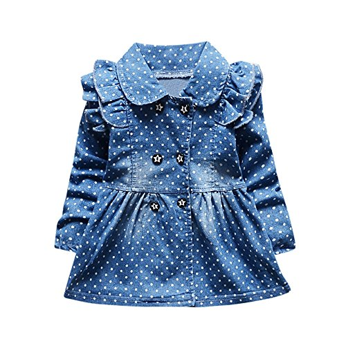 VEZAD Toddler Baby Girls Ruched Dot Print Long Sleeve Prince