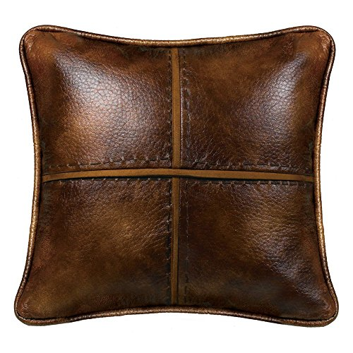 HiEnd Accents NS4090P1 Cross Stitched Pillow Faux Leather & Hand Stitched Accents Stitched Pillow