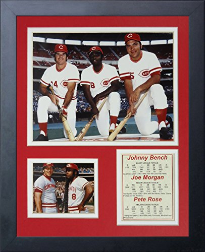 Johnny Bench Memorabilia - Legends Never Die Johnny Bench, Joe Morgan and Pete Rose Framed Photo Collage, 11 by 14-Inch
