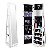 Bonnlo Mirrored Jewelry Cabinet, Rotary Swivel Lockable, Jewelry Armoire with Full Length Mirror, White