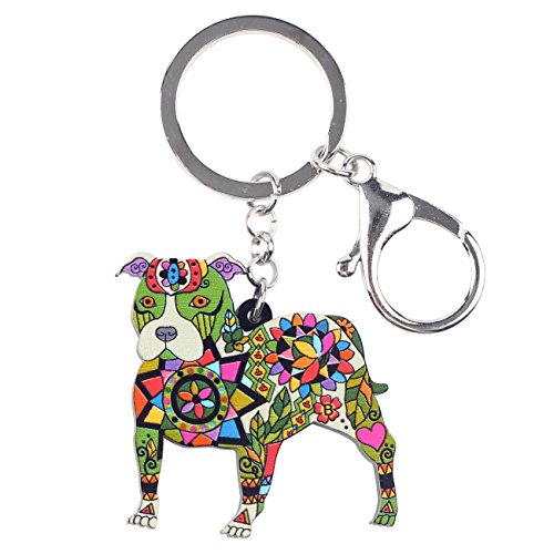Bonsny Acrylic Pit Bull Dog Key Chains Keyrings for Women Gifts Teens Kids Car Purse Handbag Charm Jewelry (Green)