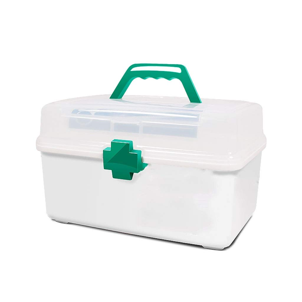 Medicine box Household Medicine Storage Box Plastic White Outpatient First Aid Convenient Carrying HUXIUPING (Size : M)