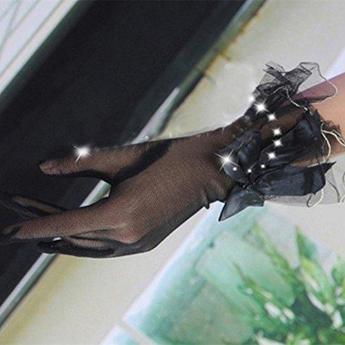 丁寧よりネコLovoski 女性 ストレッチ レース 手袋  短い ウェディング ダンス 仮装 黒