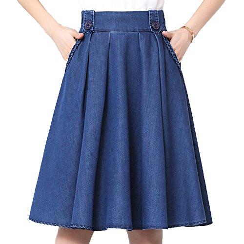Femmes Lady Fashion Jupe Plisse Jupe Courte Taille lastique A-ligne Jupe Blue