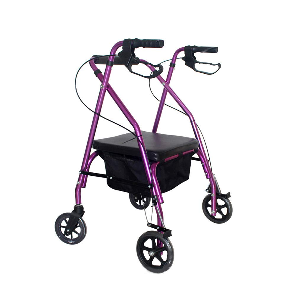 Purple Folding Four Wheel Rollator Walker Lightweight with Padded Seat, Lockable Brakes, Ergonomic Handles Unisex