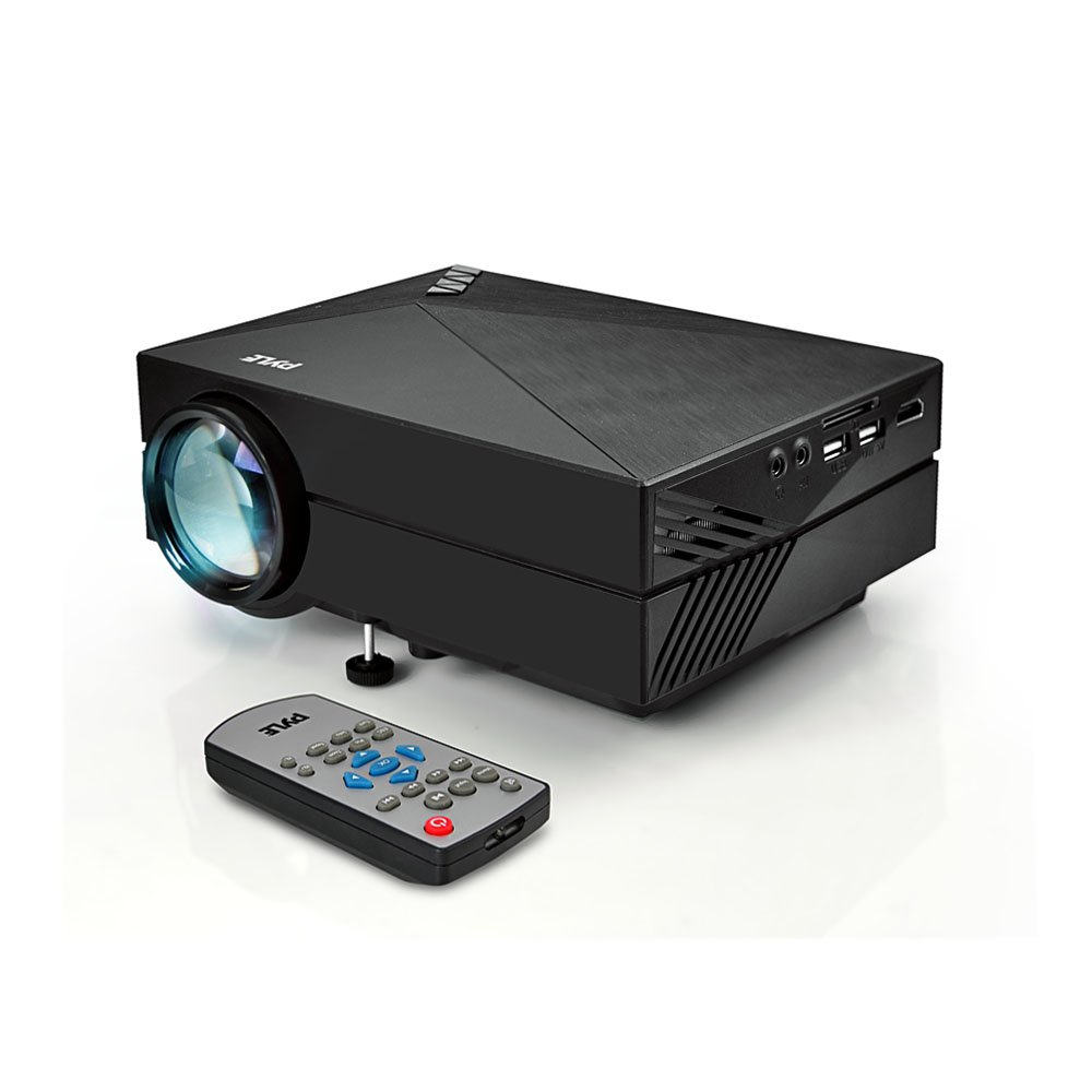 "1080P Compact Digital Multimedia Projector - HD Support 1000 Lumens Adjustable 50""-130"" Size Projection Built-in Stereo Speakers HDMI Ports & Remote Control - Pyle AZPRJG82"