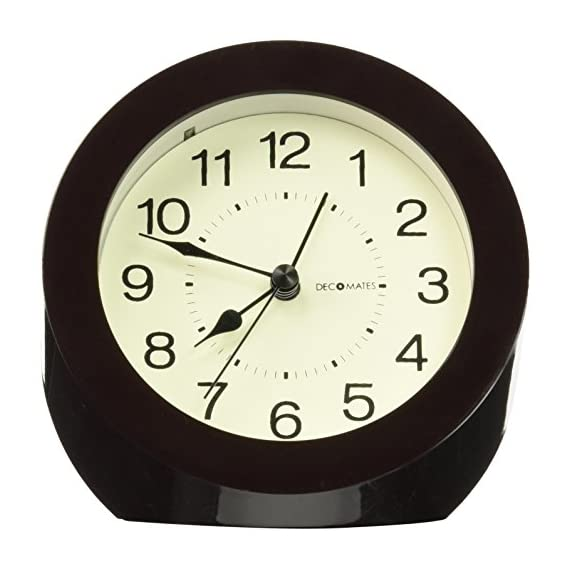DecoMates Non-Ticking Silent Wall and Desk Alarm Clock, Small, Timeless, Brown - Non-ticking, silent clock Design is simple yet modern and stylish Transforms into a desk clock or a wall clock - clocks, bedroom-decor, bedroom - 51b5H88SOML. SS570  -