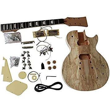 GD710 Hazlo tú mismo Guitarra Eléctrica KITS, estilo MACIZO Caoba Cuerpo Con Spalted Arce Chapa: Amazon.es: Instrumentos musicales